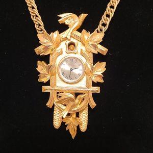 Vintage TRIFARI CUCKOO  CLOCK Necklace